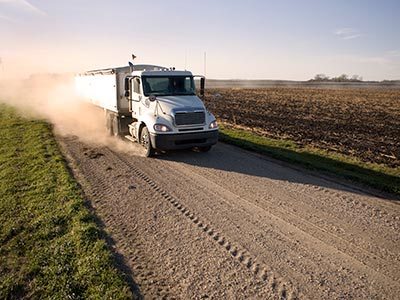 Semi truck transporting agricultural goods