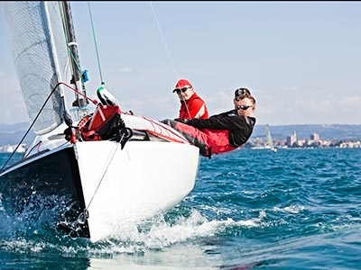 Boaters sailing in competition