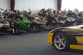 Sports bikes in warehouse