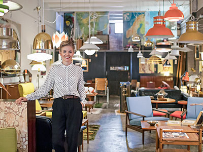 Woman in resale furniture store