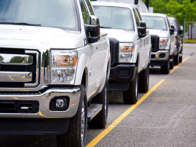 New trucks lined up for transport