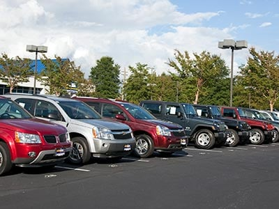 Vehicles at car dealership